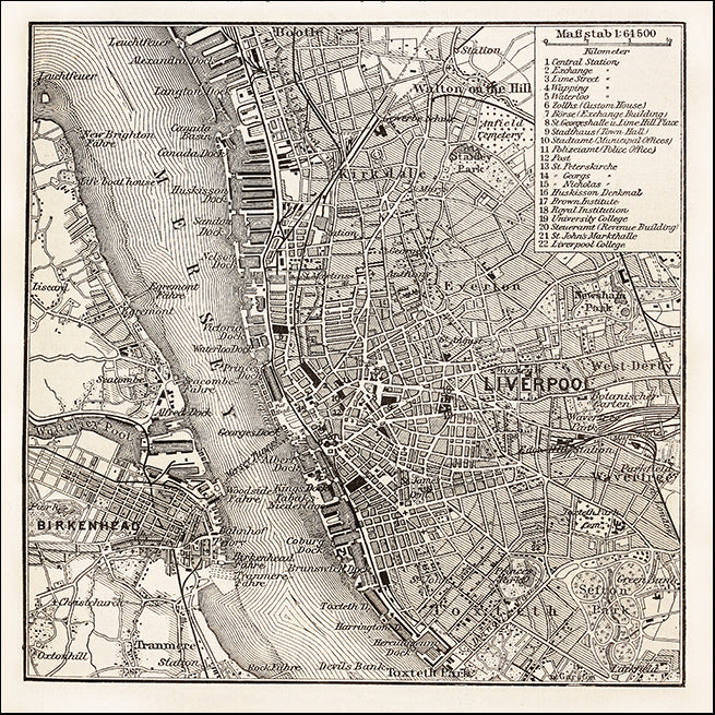 22572801 Antique Map of Liverpool, available in multiple sizes