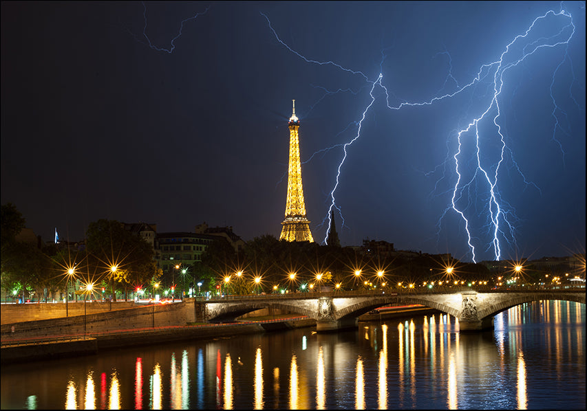 24538493 Eiffel Tower Lightning at Night, available in multiple sizes