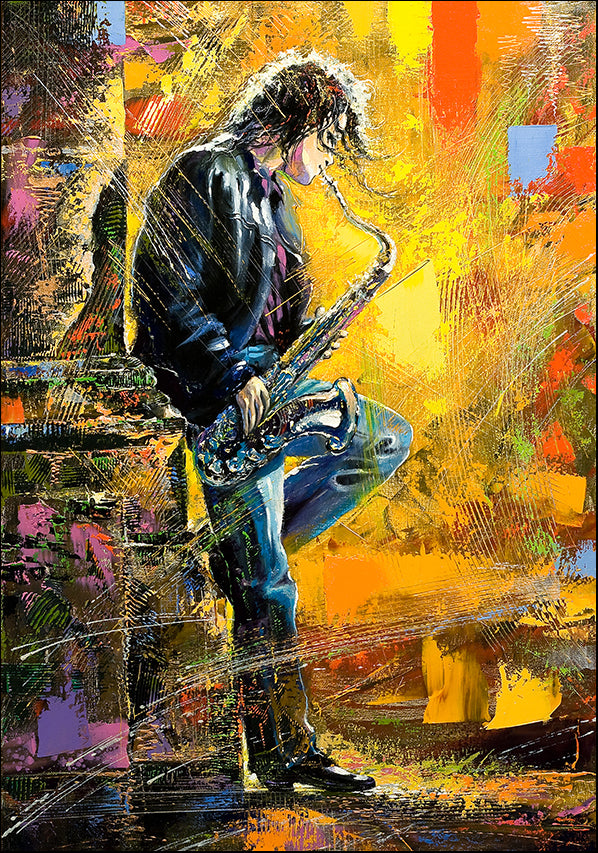 7302348 Man playing the Saxaphone, available in multiple sizes