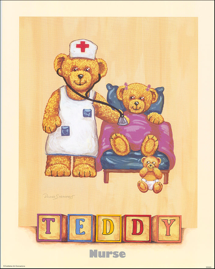 AAC DS003 Nurse Teddy by Daniel Sarantidis multiple sizes on paper