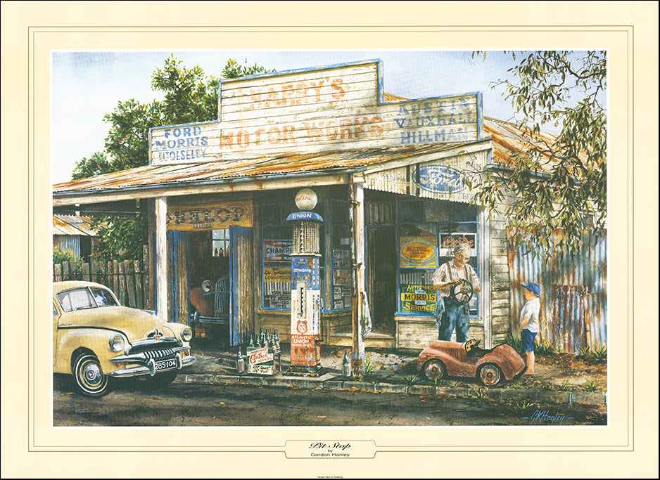 AAC GHO369 Pit Stop by Gordon Hanley 93x68cm 62x47cm 44x33cm on paper
