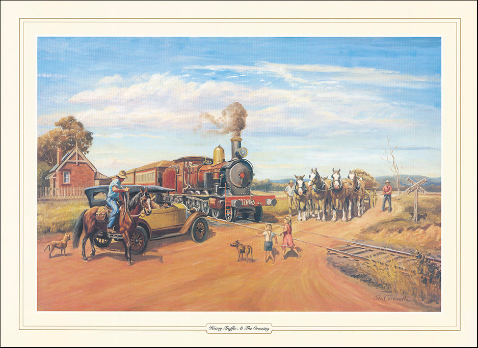 AAC JCO335 Heavy Traffic at the Crossing by John Cornwell multiple sizes on paper
