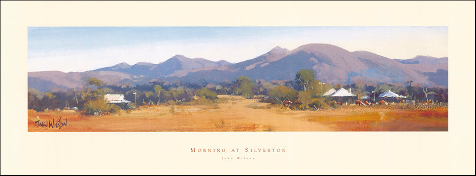 AAC JW301 Morning at Silverton by John Wilson 82x30cm on paper