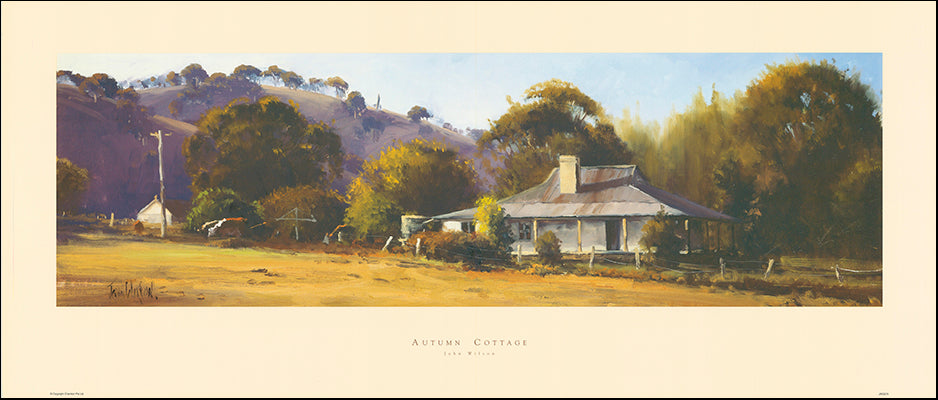 AAC JWO275 Autumn Cottage by John Wilson 104x44cm on paper