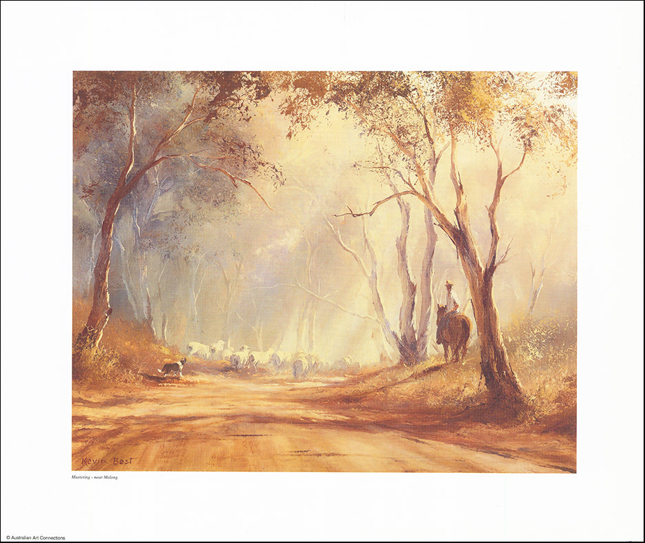 AAC KB101 Mustering Near Molong by Kevin Best 45x38cm on paper
