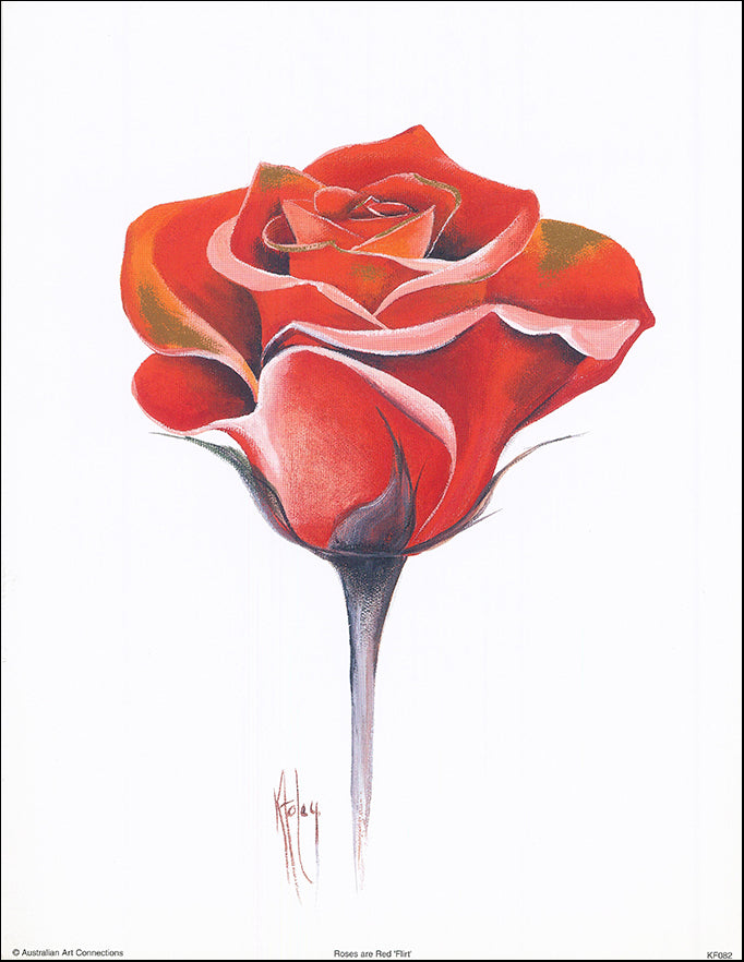 AAC KF082 Roses are Red Flirt by Karen Foley 27x35cm on paper