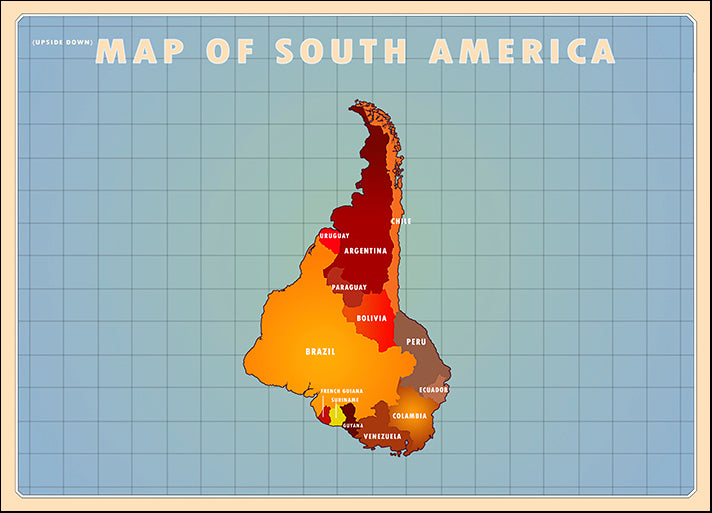 AMEFLA121782 Upside Down South America, by American Flat, available in multiple sizes