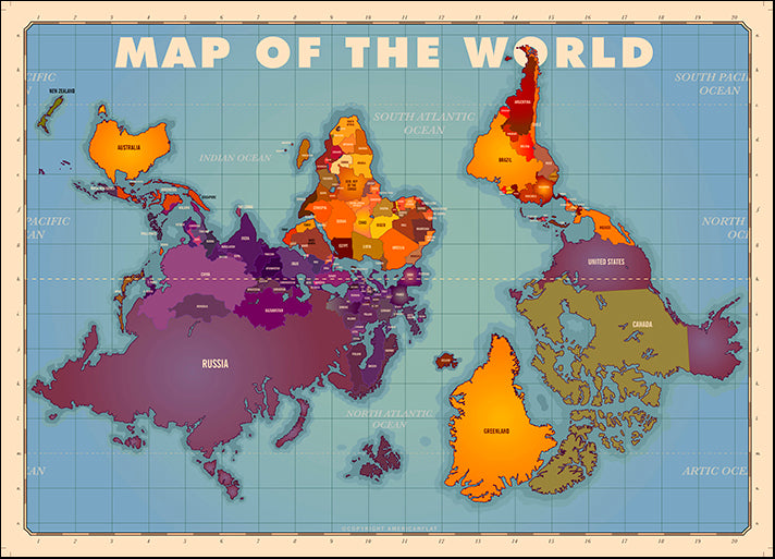 AMEFLA121794 Upside Down Map of the World, by American Flat, available in multiple sizes