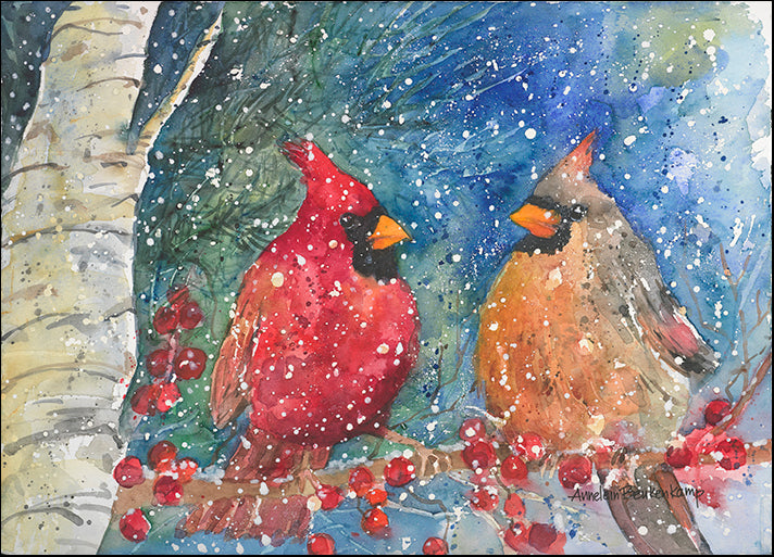 ANNBEU80872 Snow Cardinals, by Annelein Beukenkamp, available in multiple sizes
