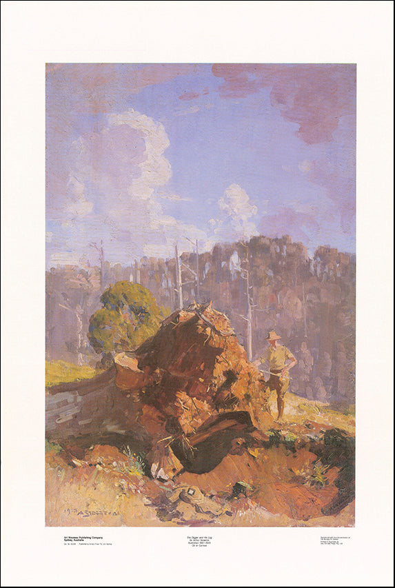AW AS258 Digger and his Log by Sir Arthur Streeton 1867 to 1943 68x101cm on paper