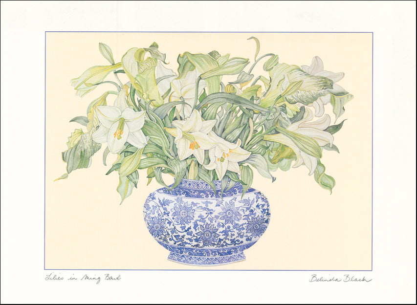 AW BB523 Lillies in a Ming Bowl by Belinda Black 61x45cm Paper