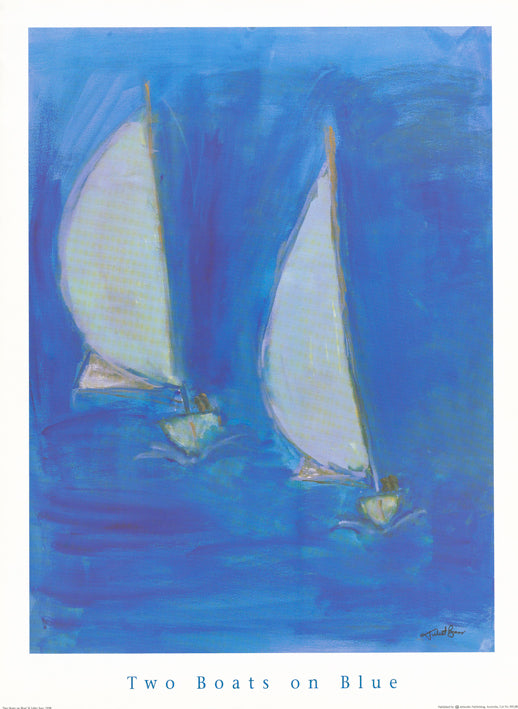 AW JB508 Julie Barr 62x80cm on paper, Two Boats on Blue