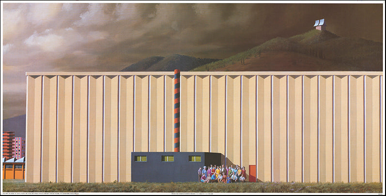 AW JS811 Jeffrey Smart 98x48cm on paper, Factory Staff NGV