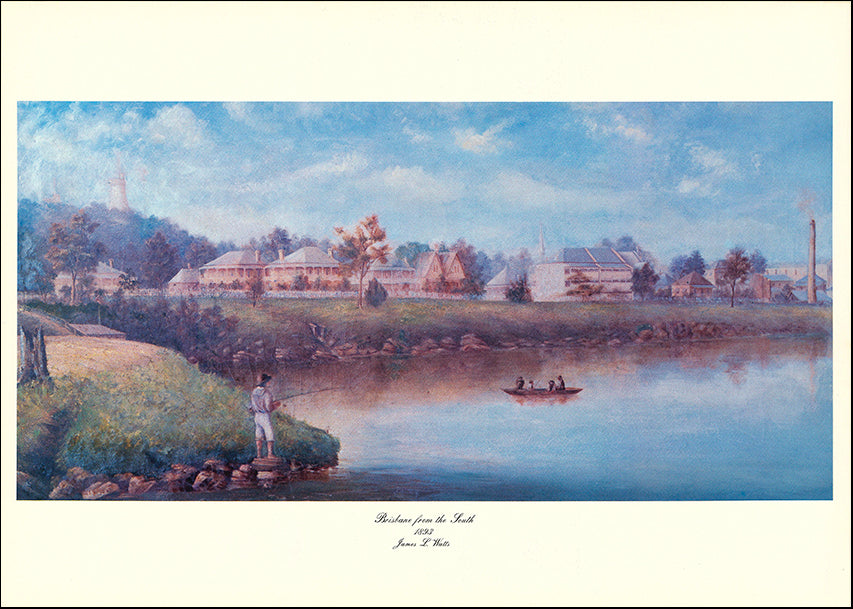 AW JW1 Brisbane from the South 1883 by James L Watts 61x43cm on paper