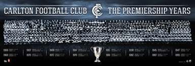 Carlton Football Club The Premiership Years Montage 100x34cm paper - Chamton