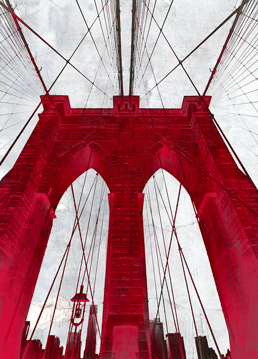 88933 Brooklyn Bridge Red, by GI artlab, available in multiple sizes