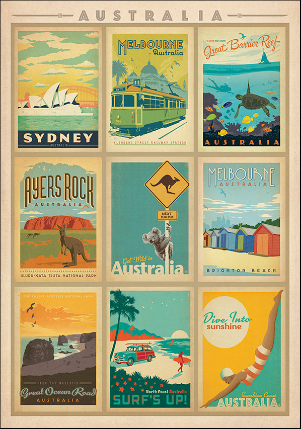 JOEAND116754 Australia montage, available in multiple sizes