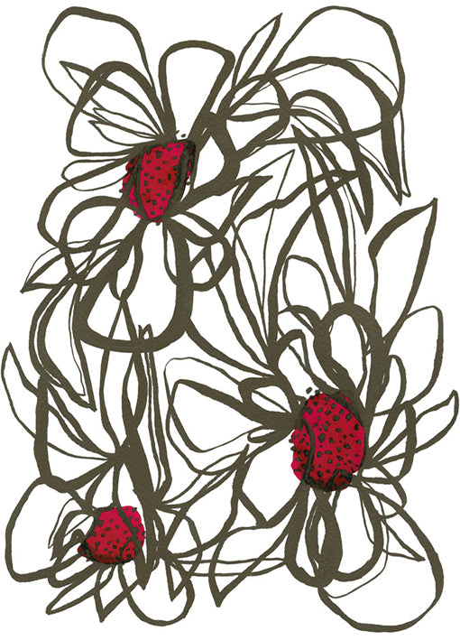 107383 Abstract Flowers, by Jones E, available in multiple sizes