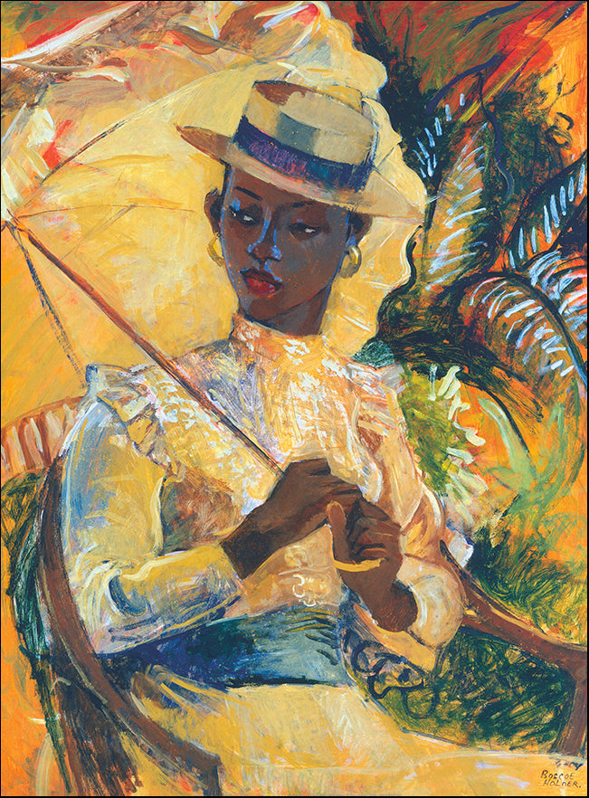 R SPT8526 Boater Hat with parasol by Boscoe Holder 45x60cm on paper