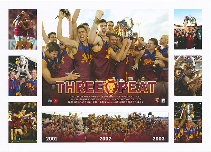 AFL 2001 2002 2003 Brisbane Lion three peat 50x70cm paper - Chamton