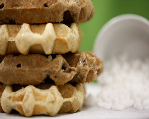 Waffatopia's Liege Style Waffle require no syrup and make a great grab and go breakfast or special dessert treat.
