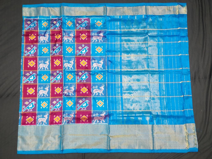 Blue and Pink Checkered Pochampally Ikat Silk Saree
