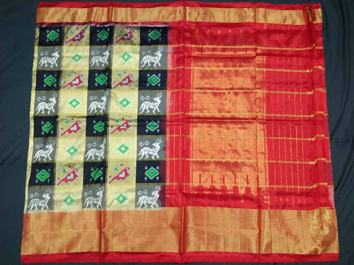 Cream and Black Checkered Pochampally Ikat Silk Saree
