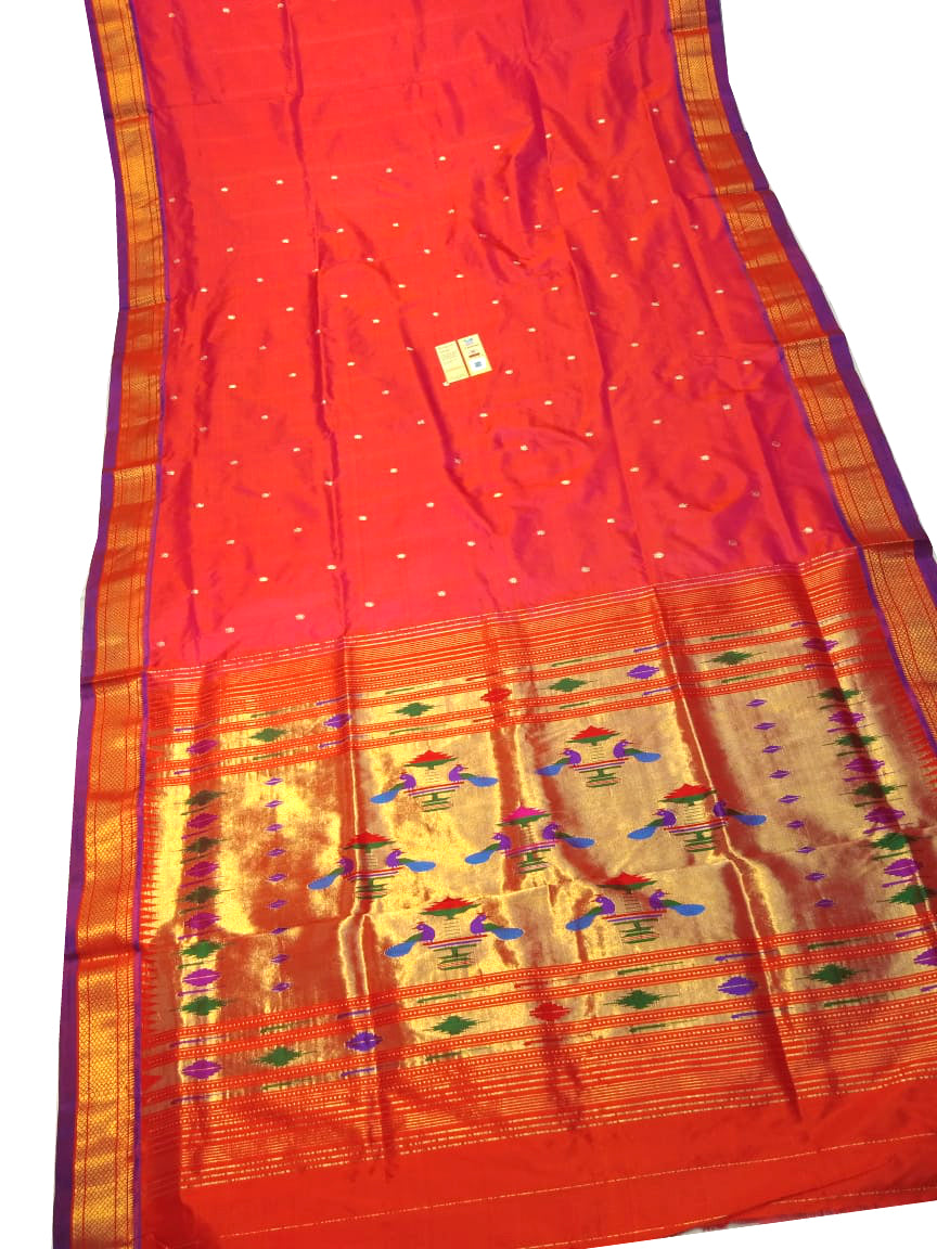 Red Paithani Silk Saree