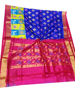 Royal Blue Handloom Pochampally Ikat Pure Silk Saree