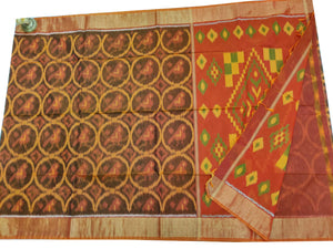 Coffee Brown Pochampally Ikat Sico Saree