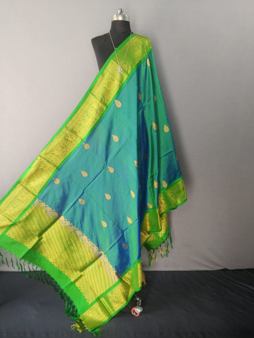 Green and Blue Dual Tone Kanchipuram Silk Dupatta