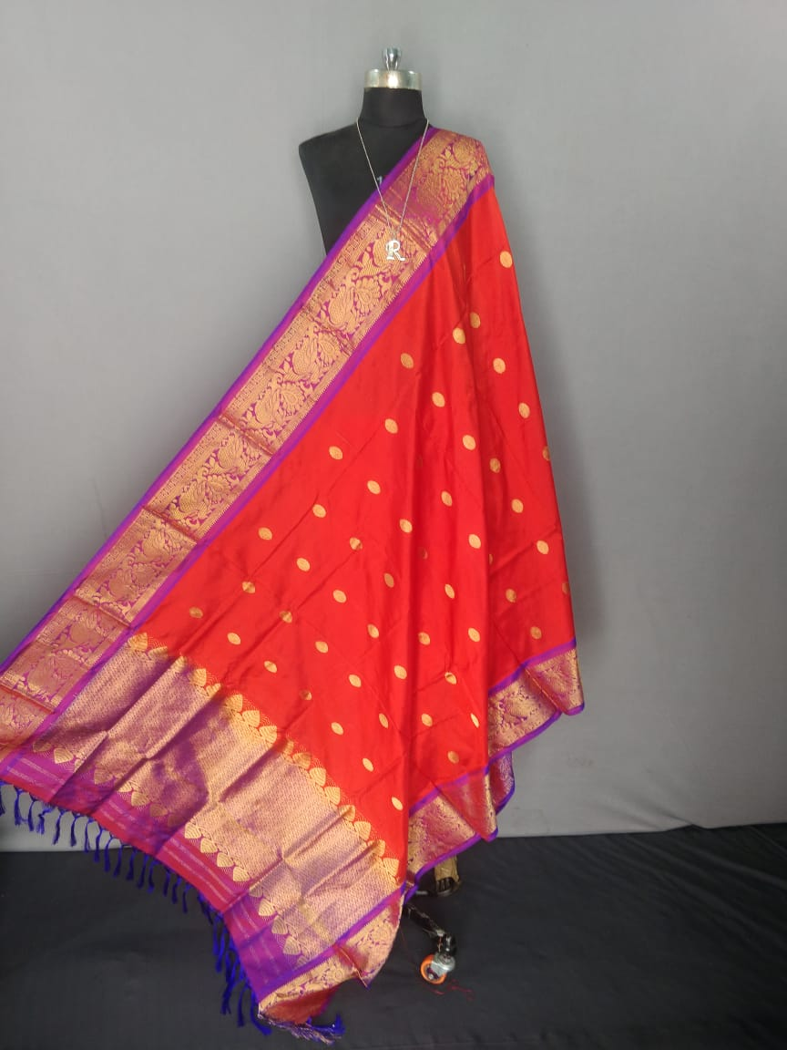 Deep Orange Kanchipuram Silk Dupatta