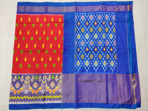 Red Pochampally Ikat Silk Saree