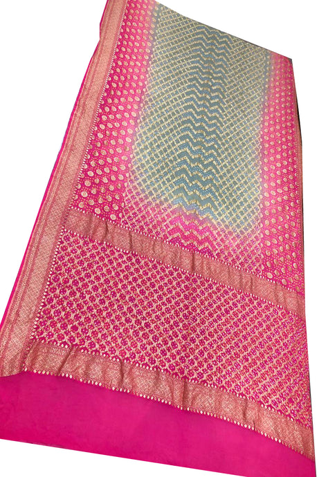 Pink and Grey Bandhani Silk Saree
