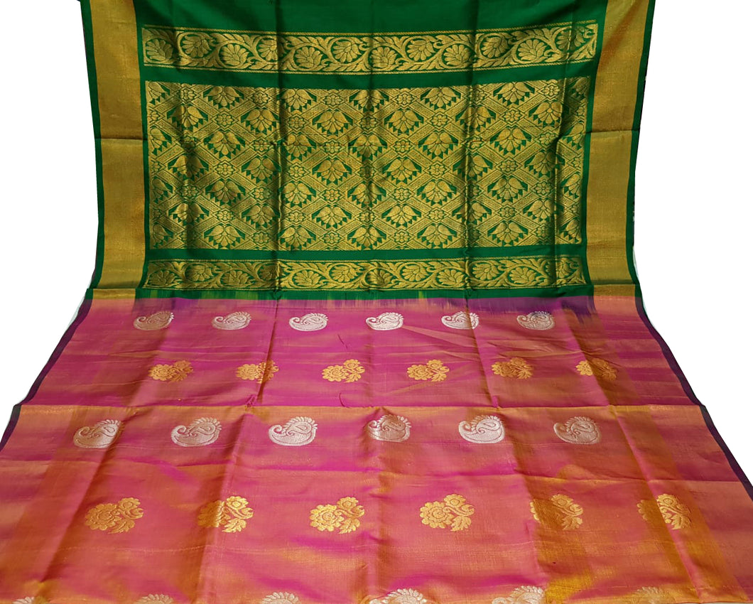 Pink and Yellow Dual Tone Uppada Silk Saree