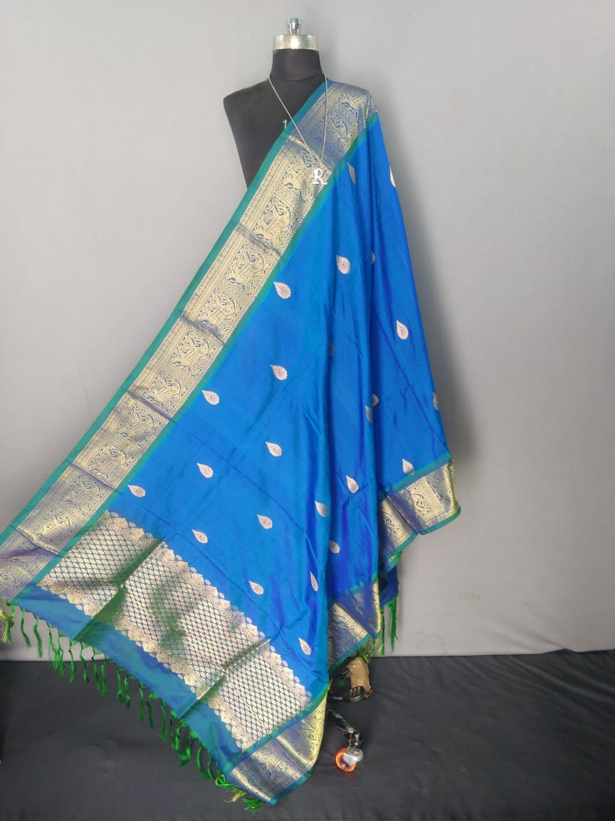 Blue and Green Kanchipuram Silk Dupatta