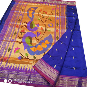 Royal Blue Paithani Silk Saree