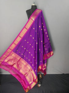 Purple and Pink Kanchipuram Silk Dupatta