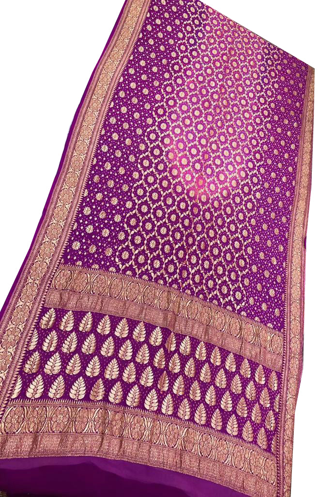 Purple and Pink Bandhani Silk Saree