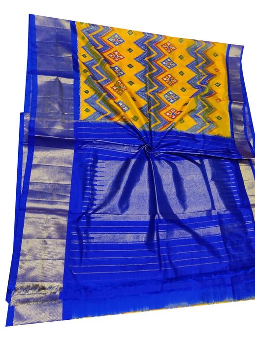 Yellow Handloom Pochampally Ikat Pure Silk Saree