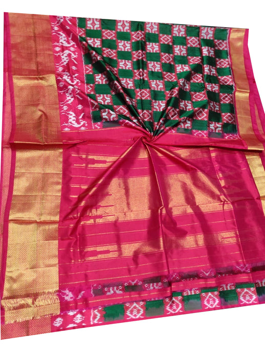 Green Handloom Pochampally Ikat Pure Silk Saree