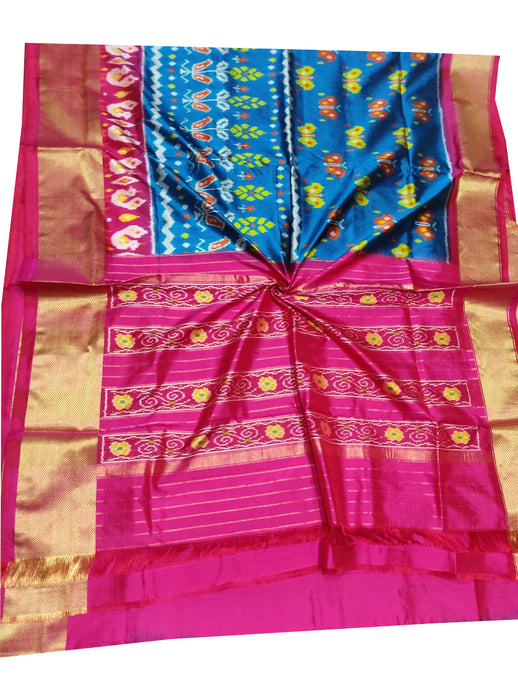 Blue Handloom Pochampally Ikat Pure Silk Saree