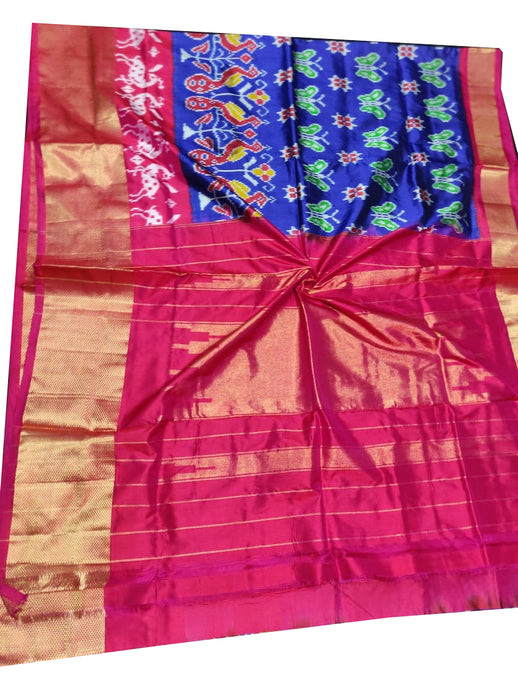 Dark Blue Handloom Pochampally Ikat Pure Silk Saree