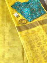 Load image into Gallery viewer, Lemon Yellow Organza Silk Saree with Blouse