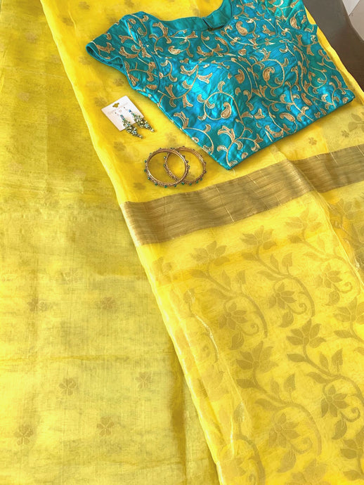 Lemon Yellow Organza Silk Saree