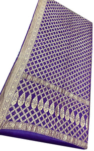 Purple Bandhani Silk Saree
