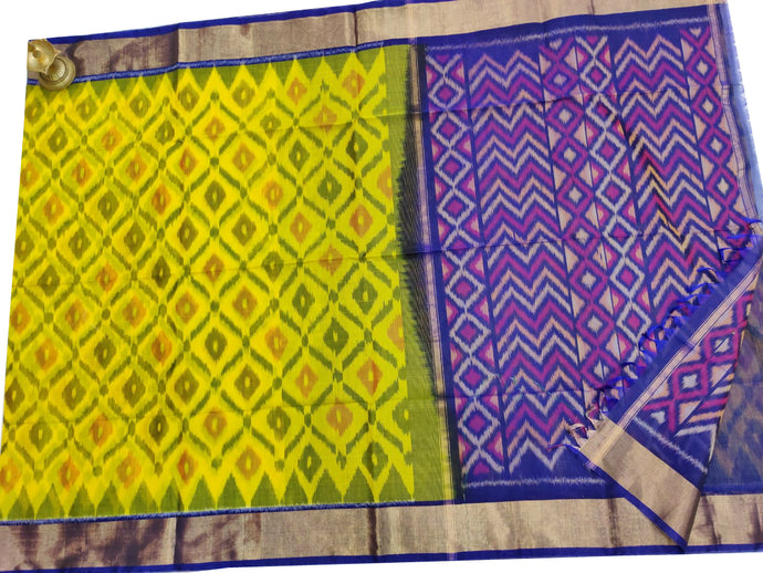 Lemon Yellow Pochampally Ikat Sico Saree