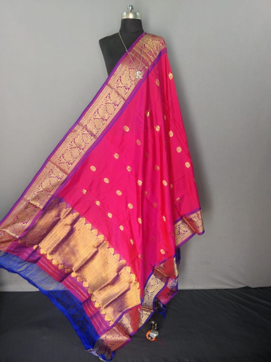 Pink and Purple Kanchipuram Silk Dupatta