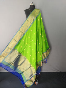 Parrot Green and Blue Kanchipuram Silk Dupatta