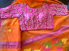 Load image into Gallery viewer, Orange Cotton Silk Saree with Blouse